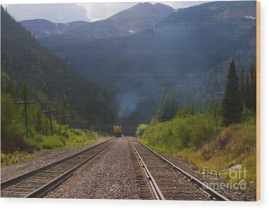 Misty Mountain Train Wood Print