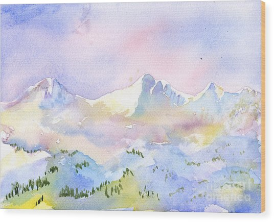 Misty Mountain Wood Print