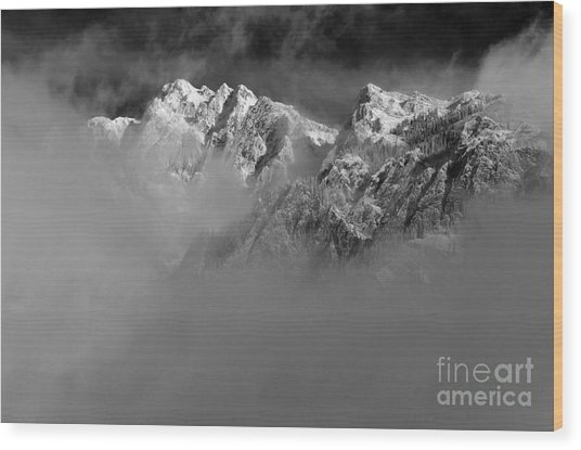 Misty Mountains In Mono Wood Print