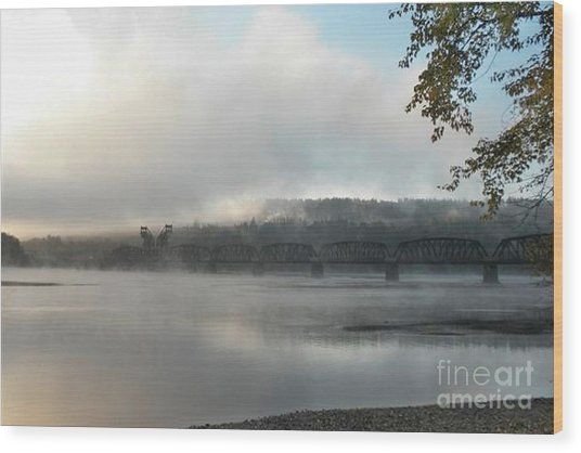 Misty Railway Bridge Wood Print