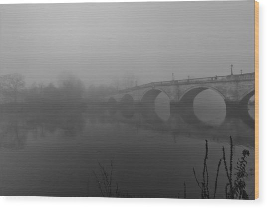 Misty Richmond Bridge Wood Print