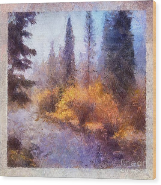 Misty River Afternoon Wood Print