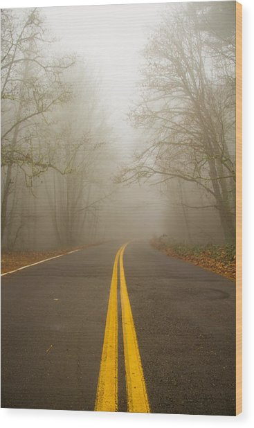 Misty Road Wood Print