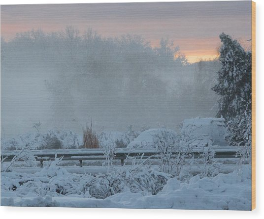 Misty Snow Morning Wood Print