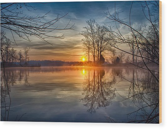 Misty Sunrise Wood Print by Dan Holland