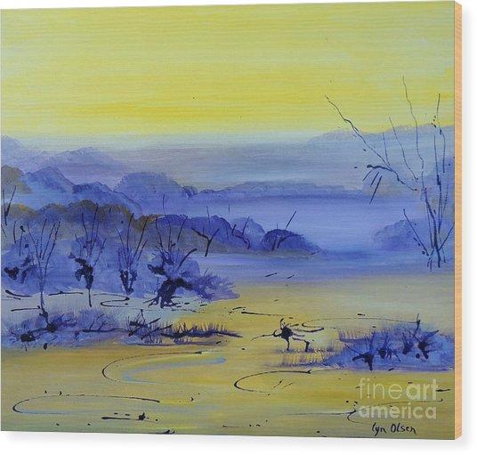 Misty Valley Wood Print