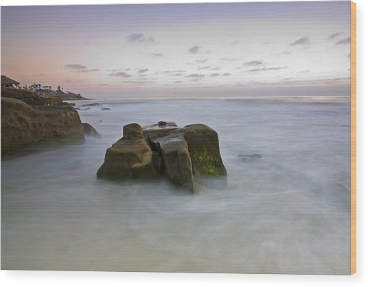 Misty Waters Wood Print by Peter Tellone