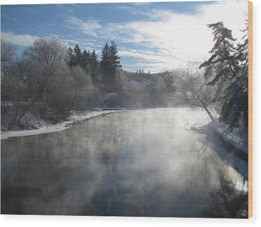 Misty Winter River Wood Print by Carolyn Reinhart