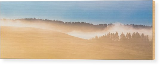 Misty Yellowstone   Wood Print