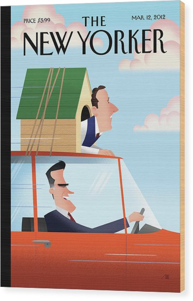 Mitt Romney Driving With Rick Santorum In A Dog Wood Print
