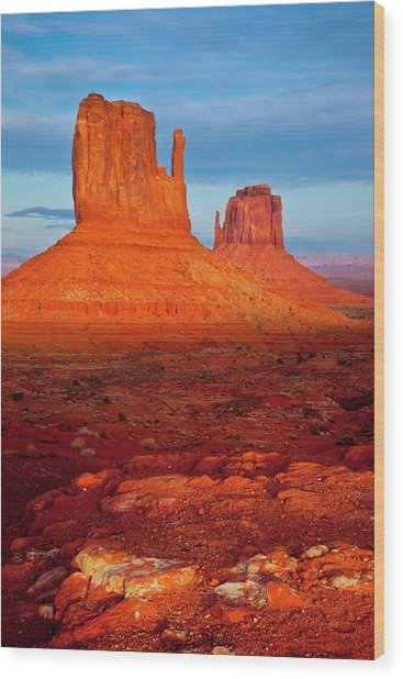 Mittens At Sunset, Monument Valley Wood Print