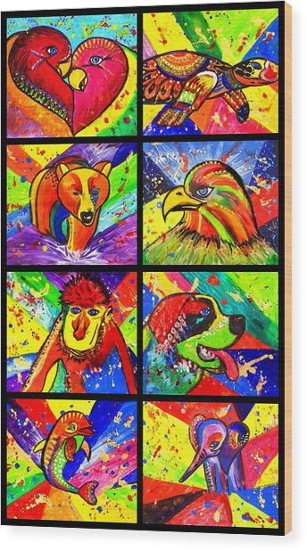 Mix Animal Pop Art Wood Print