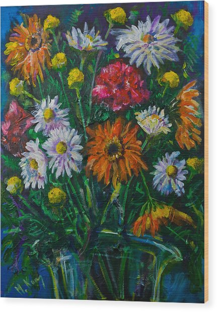 Mixed Flowers Wood Print