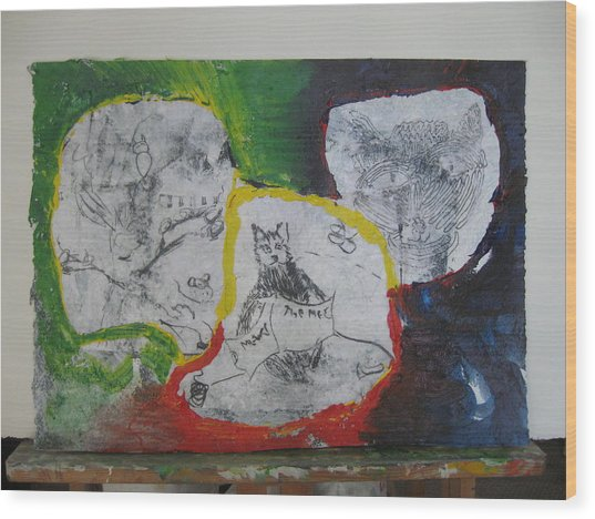 Wood Print featuring the mixed media Mixed Media Class Three With Cats by AJ Brown