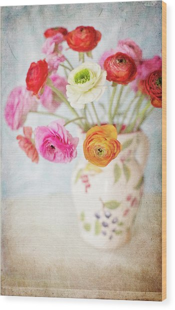 Mixed Ranunculus In Vase Wood Print