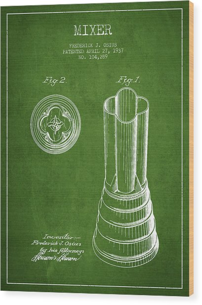 Mixer Patent From 1937 - Green Wood Print