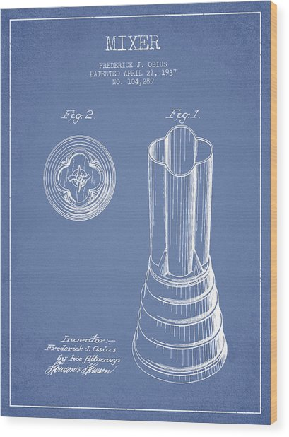Mixer Patent From 1937 - Light Blue Wood Print