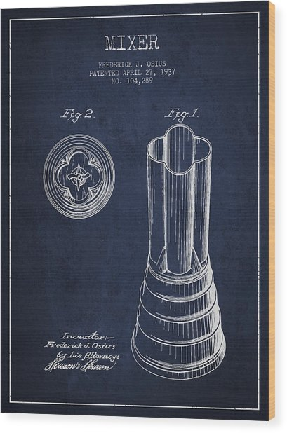 Mixer Patent From 1937 - Navy Blue Wood Print