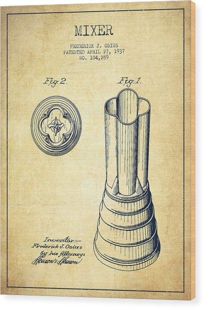 Mixer Patent From 1937 - Vintage Wood Print