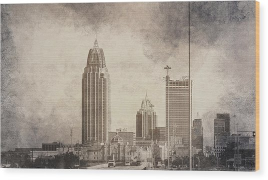 Mobile Alabama Black And White Wood Print