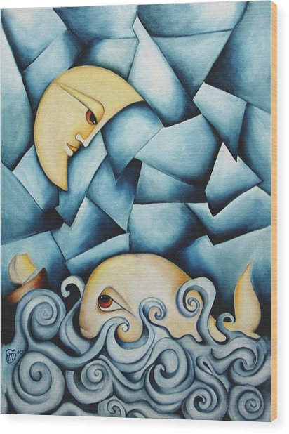 Moby Dick The Daughter Of The Moon  Wood Print by Simona  Mereu