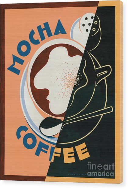 Mocha Coffee Wood Print