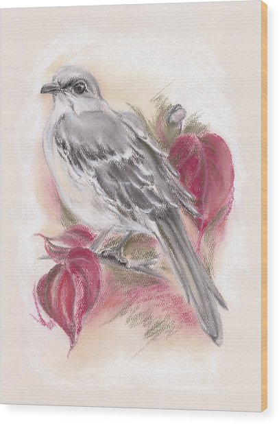 Mockingbird In Autumn Dogwood Wood Print