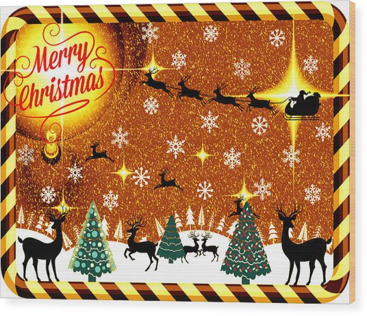 Mod Cards - Reindeer Games - Merry Christmas V Wood Print