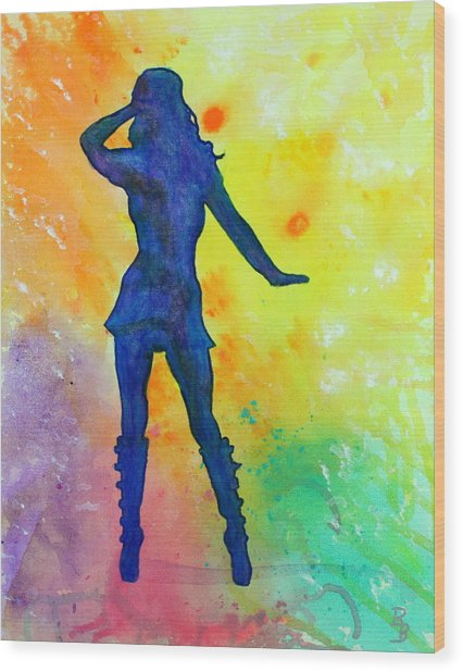 Mod Girl Female Silhouette Abstract Wood Print