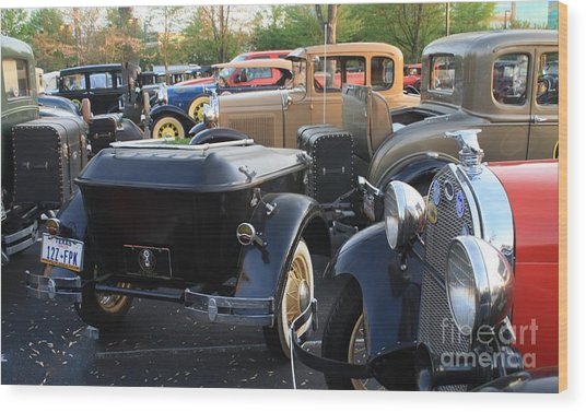 Model A With Trailor Wood Print by Connie Mueller