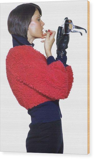 Model Applying Bonnie Bell Lipstick Wood Print