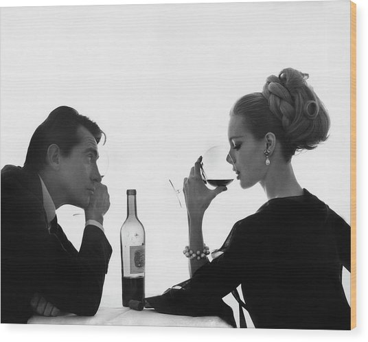 Man Gazing At Woman Sipping Wine Wood Print by Bert Stern