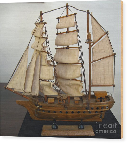 Model Sailing Ship Wood Print