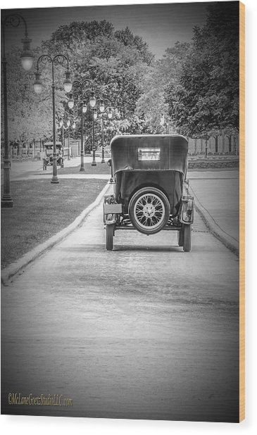 Model T Ford Down The Road Wood Print