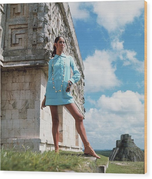 Model Wearing A B H Wragge Tunic In Tula Wood Print