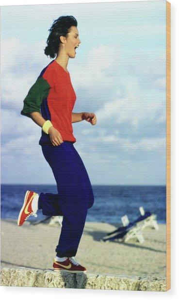 Model Wearing A Castelbajac Jogging Suit Wood Print