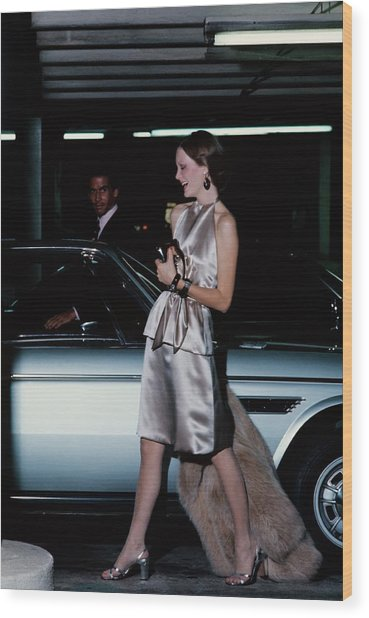 Model Wearing A Chester Now Ensemble By A Car Wood Print