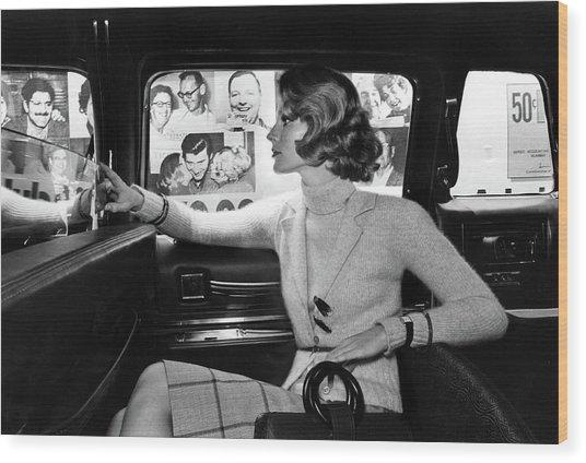 Model Wearing A Jane Justin For Don Sports Blazer Wood Print