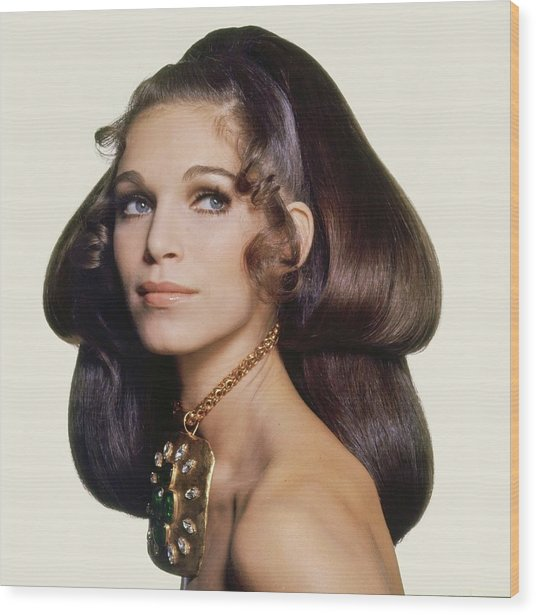 Model Wearing A Madame Gres Necklace Wood Print