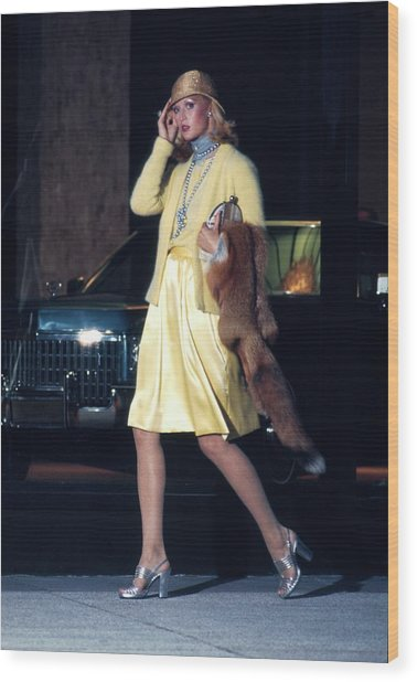 Model Wearing A Morty Sussman For Mollie Parnis Wood Print