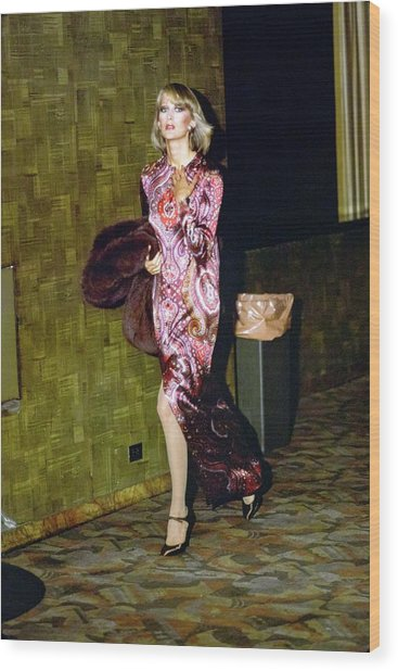 Model Wearing A Paisley Gown Wood Print by Arthur Elgort