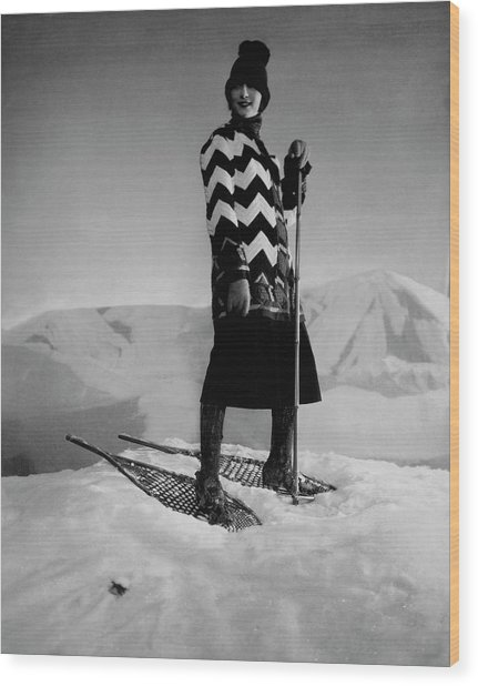 Model Wearing A Striped Sweater On Snow Wood Print