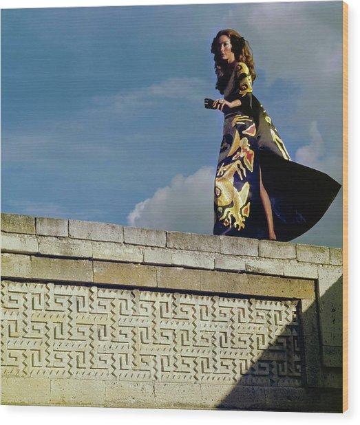 Model Wearing A Valentino Dress Wood Print by Henry Clarke