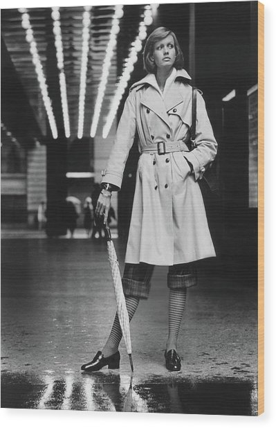 Model Wearing A Weatherbee Trench Coat Wood Print