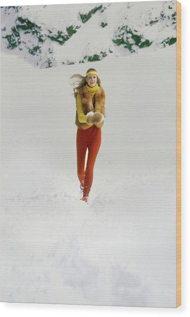 Model Wearing An Adolfo Fur Vest Wood Print