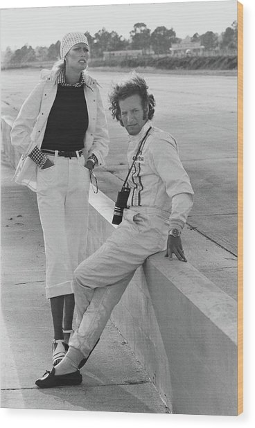 Model With Hurley Haywood At Sebring Race Track Wood Print