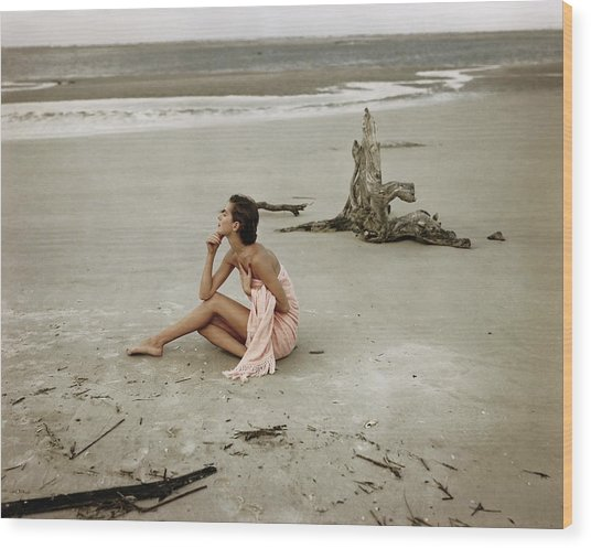 Model Wrapped In A Pink Towel On The Beach Wood Print