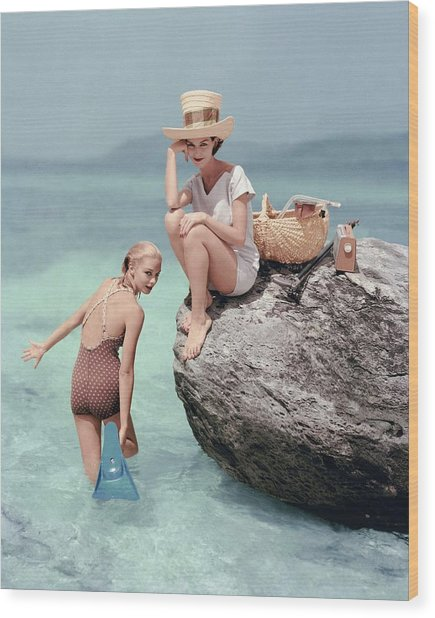 Models At A Beach Wood Print by Richard Rutledge