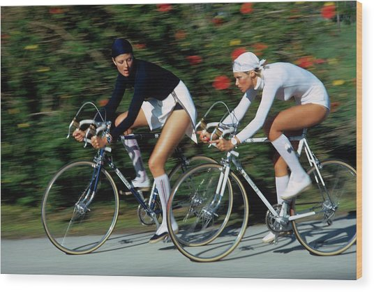Models Cycling In Headscarves Wood Print