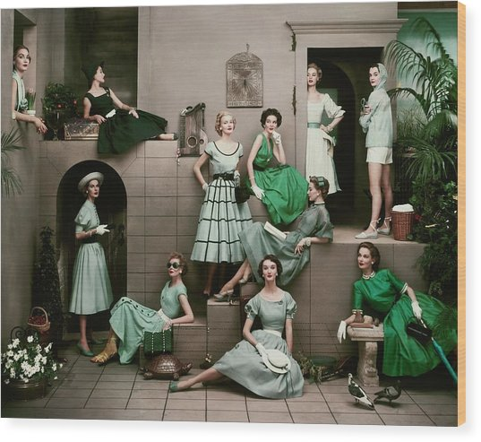Models In Various Green Dresses Wood Print by Frances Mclaughlin-Gill